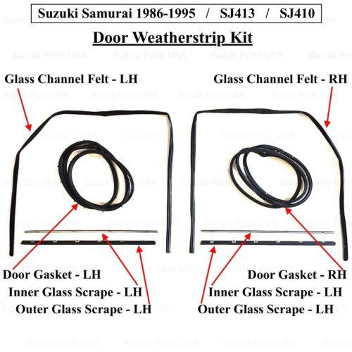 Door-Glass-Seal-Gasket-Weather-Strip-Kit-RHLH-SJ413-Suzuki-Samurai-86-95-302638172316